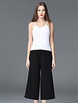 FRMZ  Women's Casual/Daily Simple Summer Tank TopSolid Strap Sleeveless White Cotton / Rayon Medium