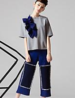 ROOM404  Women's Color Block Blue / Black Straight PantsStreet chic
