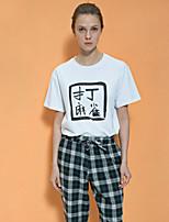 NEATO  Women's Going out Simple Summer T-shirtPrint Round Neck Short Sleeve White Cotton Medium