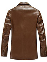 Men's Long Sleeve Casual JacketPU Solid Black / Brown