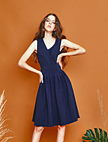 LIANGSANSHI Women's Going out Simple Sheath Dress,Solid V Neck Knee-length Sleeveless Blue Polyester Summer
