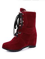 Черный Желтый Красный Кофе-Женский-Для прогулок Для праздника Повседневный-Дерматин-На плоской подошве-Теплая зимняя обувь-Ботинки