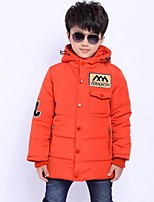 Boy's Casual/Daily Embroidered Down & Cotton PaddedPolyester Winter Black / Green / Orange