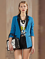 I'HAPPY Women's Work Simple Spring / Fall BlazerSolid Peaked Lapel Long Sleeve Blue / Green Rayon / Polyester