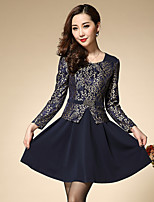 Boutique S Women's Plus Size / Going out Sophisticated A Line DressJacquard Round Neck Above Knee Long Sleeve