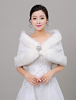 Women's Wrap Shawls Sleeveless Faux Fur Ivory Wedding / Party/Evening V-neck 35cm Rhinestone Open Front
