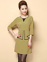 Boutique S Women's Plus Size / Casual/Daily Vintage Shift DressGeometric Round Neck Above Knee  Sleeve Polyester Fall