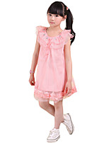 Girl's Going out Solid Dress,Nylon Summer Pink / Red / White