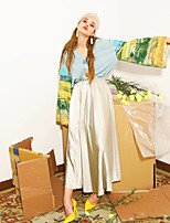 Damen Druck Retro / Street Schick Lässig/Alltäglich T-shirt,V-Ausschnitt Sommer Langarm Blau Baumwolle Dünn