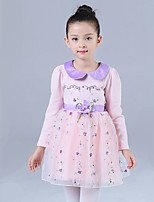 Girl's Casual/Daily Floral DressCotton / Polyester Winter / Fall Purple / Red