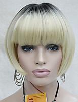 тепло хорошо синтетический ломбера блондинка с темными корнями боб гриб стиль короткий парик
