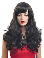 Black Color Long Curly Wigs Capless Synthetic Wigs For Afro Women