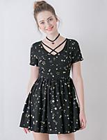 Trapèze Robe Femme Sortie Vintage,Imprimé Col en V Au dessus du genou Manches Courtes Noir Polyester Eté Taille Haute Non Elastique Moyen