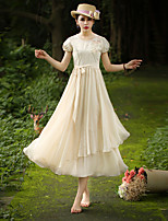 Our Story Women's Going out Vintage Sheath DressEmbroidered Round Neck Midi Short Sleeve Beige Polyester Summer