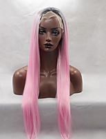 моды длинные прямые синтетические кружева парик фронта бесклеевой 1b / розовый цвет для женщин Afro париков