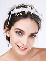 Women's Tulle / Acrylic Headpiece-Wedding / Special Occasion Flowers 1 Piece White