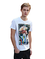 Men's Print / Letter Casual T-ShirtCotton Short Sleeve-White