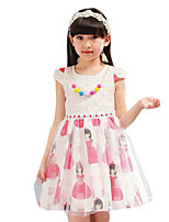 Girl's Going out Print DressPolyester Summer Blue / Pink / Purple
