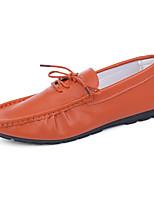 Herren-Loafers & Slip-Ons-Büro / Lässig / Party & Festivität-Kunstleder-Flacher Absatz-Flache Schuhe-Schwarz / Weiß / Orange