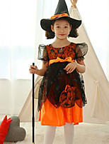 Girl's Party/Cocktail Halloween Patchwork Dress & Cap Cotton / Polyester All Seasons Orange