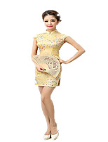 One-Piece Short Sleeve Medium Length Green / Yellow Lolita Dress Polyester Cheongsam