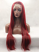 Fashion Long Straight Synthetic Lace Front Wig Glueless Red Color For Afro Women Wigs