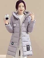 Women's Solid Pink / Red / Black / Gray Padded CoatSimple Hooded Long Sleeve