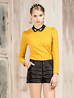 I'HAPPY Women's Going out Vintage Spring / Fall T-shirtGeometric Peter Pan Collar Long Sleeve Yellow Polyester