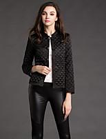 Boutique S Women's Solid Black CoatSimple Round Neck Long Sleeve