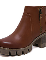 Women's Boots Side Zipper Refresh Combat Boots/Bootie Platform Chunky Bootie Black and Brown Colors Available