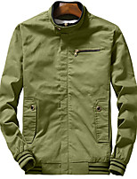 Men's Long Sleeve Casual / Sport JacketCotton Solid Black / Brown / Green / Red