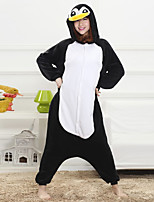 Unisex Cashmere / Polyester Cute Penguin Cartoon One-piece Pajama Winter Thick Sleepwear Black