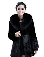 Women's Casual/Daily Simple Fur CoatLeopard Round Neck Long Sleeve Winter Black Faux Fur Medium
