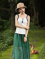 Débardeur Aux femmes,Couleur Pleine Sortie Chinoiserie Printemps / Automne Sans Manches A Bretelles Blanc Coton Moyen