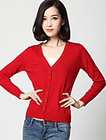 Women's Casual/Daily Simple Regular CardiganSolid Blue / Red / Black / Brown / Yellow V Neck Long Sleeve