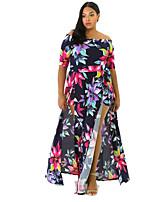 Женский На каждый день / Большие размеры Секси / Винтаж Облегающий силуэт Платье Цветочный принт,Вырез лодочкой Ассиметричное Рукав ½