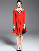 Women's Plus Size / Casual Street chic Fashion A Line / Sheath Dress Striped Long Sleeve Red / Black Polyester /Spandex