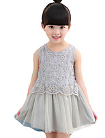 Girl's Going out Solid DressPolyester Summer White / Gray
