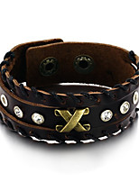 Men's Fashion Jewelry Alloy Rivet Vintage Adjustable Leather Bracelet Casual/Daily  Accessories Christmas Gifts