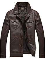 Men's Long Sleeve Casual / Plus Size Leather Jackets PU / Polyester Solid Black / Brown