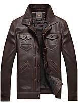 Мужской Полиуретановые / Полиэстер Куртка На каждый день / Большие размеры,Однотонный,Длинный рукав,Черный / Коричневый