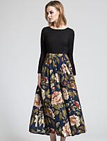BORME Women's Round Neck Long Sleeve Maxi Dress-Y043