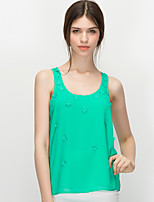 NAKED ZEBRA Women's Crew Neck Sleeveless Vest & Waistcoat Black / Green / Orange-QT70133