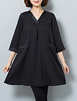 Women's Plus Size / Casual/Daily Vintage Loose DressSolid V Neck Above Knee  Sleeve Black Polyester All Seasons