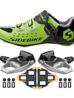 SD001 Cycling Shoes Unisex Outdoor / Road Bike Sneakers Damping / Cushioning Black/Green-sidebike And R540 Rock Pedals