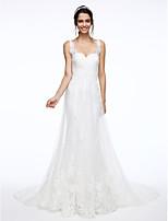 Lanting Bride® A-linje Brudekjole Kapellslep Stropper Blonder / Tyll med Appliqué / Perlearbeid / Kryssdrapering