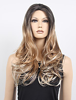 Medium Golden Brown Long Wavy Middle Part Synthetic Wig Top Grade Hot Sale.
