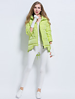Women's Solid Pink / White / Black / Gray / Yellow Down CoatCute Hooded  Sleeve