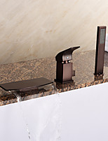 European Tub Waterfall / Handshower Included with Ceramic Valve 1-Handle 3-Holes for ORB , Bathtub Faucet