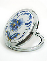1pc Ethnic Ceramics Hand Painted Decal Flower Folding Cosmetic Makeup Compact Mirror 3D Stereo Double Sided Mirror